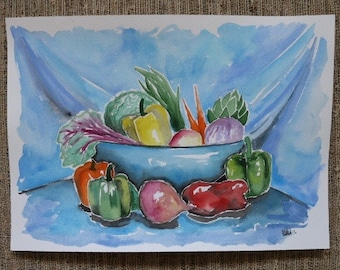 Vegetable Still Life Watercolor Painting by Olivia Rose Art