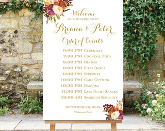 Wedding Schedule Sign - Wedding Timeline Sign - Wedding Order of Events Sign - Digital File - Personalize - Fall Wedding - The Aria
