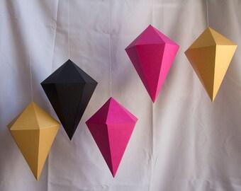 Paper Shape geometric paper gem ornaments paper diamonds neon bright