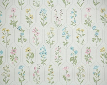 1940s Vintage Wallpaper by the Yard - Pink Blue and Yellow Spring Flowers, Floral Wallpaper