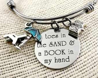 BOOK Lover, Book In my Hand Toes In the Sand  Beach Bracelet Book Necklace,  Book Lover Gift, Book Jewelry, Beach Cruise Jewelry -