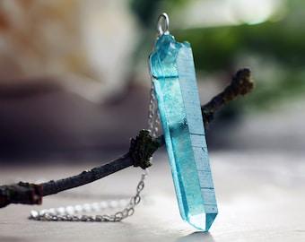 Blue crystal etsy aqua blue quartz pendant turquoise blue crystal necklace crystal point pendant sterling silver aloadofball Images