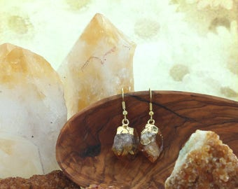 Gold Citrine Earring Money  Luck Protection  Healing