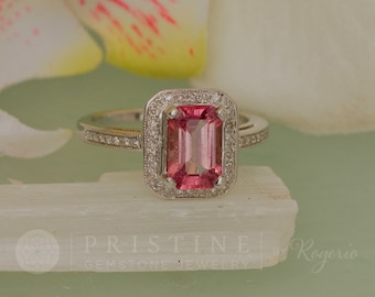 Emerald Cut Pink Sapphire Ring with 1.94ct Pink Sapphire