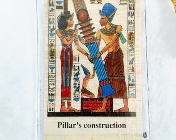 Egyptian Papyrus Bookmark-Pillars Construction. Ancient Egyptian hieroglyphics are part of this beautiful design. A must for all book lovers