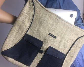 Hemp Organic Laptop Bag,  Hemp Shoulder Bag, Crossbody Hemp Bag, Hemp Messenger Bag, Weekender, School