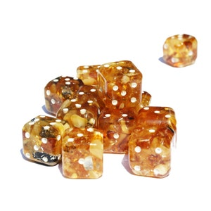 Baltic Amber Dice with rounded corners, amber present, unique and impressive gift, game accessory, make a dice set, for Dice & Tile Games