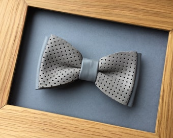 Grey / gray leather bow tie Pretied bowtie Perforated leather bow tie Wedding bow tie Genuine leather necktie Mens bow tie Womens bow tie