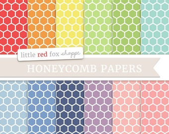 Honeycomb Digital Papers, Rainbow Scrapbooking Background Wallpaper Vintage Hexagon Decorative Crafting Graphic Design Small Commercial Use