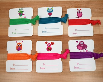 Kids's Valentine's Day Cards - Hair Ties Monster Hearts Theme Packs for Classmates and Friends