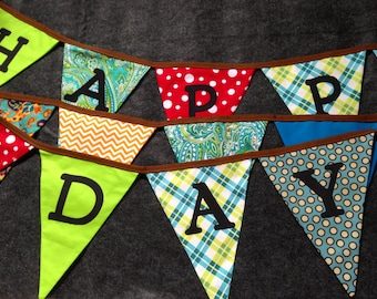 Happy Birthday Party Fabric Banner - Reusable, and Semi-custom