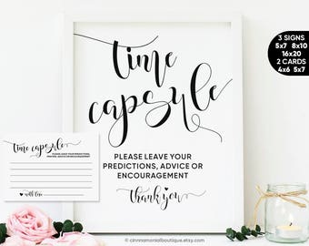 Time Capsule Sign Printable, Time Capsule Cards For First Birthday 1st Birthday Baby Shower, Wedding Time Capsule Box Guest Book Alternative