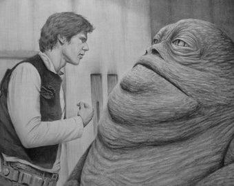 Han Solo and Jabba Hutt Original Pencil Drawing - Star Wars Original Artwork - Han Solo and Jabba Pencil Drawing - Star Wars Fanart