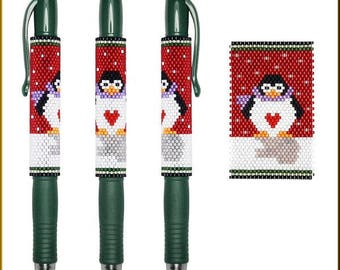 Holiday Penguin Pilot G2 Peyote Pen Cover Pattern by Kristy Zgoda