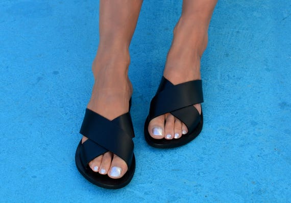 Sandals Sandals Greek Cross Slide Leather Leather sandals X Sandals Sandals ''Milos'' strap Criss Greek sandals 881fYH