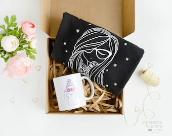 "Gift Box: ""Marli"" or ""Poppy""  sweatshirt + illustrated mug + gift box"