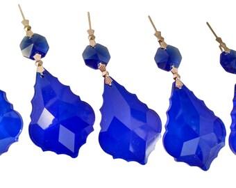 5 Cobalt Blue 50mm French Chandelier Crystals Pendalogue Prisms
