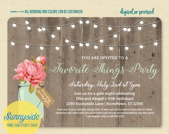 Favorite things party invitation // printed or printable birthday girls night invitation with woodgrain and mason jar // you choose flower!
