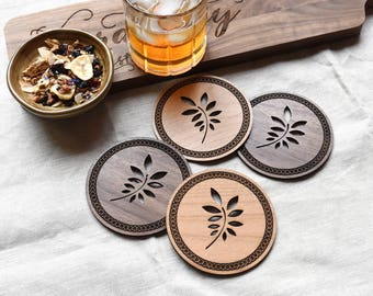 Wooden Drink Coasters. Rustic Drink Coaster Set. Laser Cut Wood Wedding Gift. Mothers Day Gift.