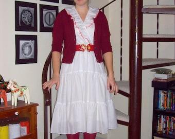 Vintage white ruffled dress with red trim - medium
