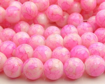 20pcs Rose Pink and Off White Round Glass Beads - 10mm Mottled Beads, Multicolor Bohemian Glass - BL3