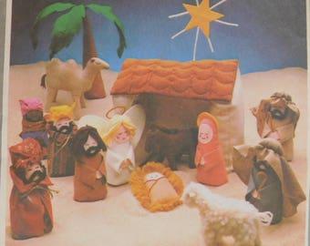vintage 1978 Simplicity Pattern 8776 Felt Christmas Creche Nativity UNCUT