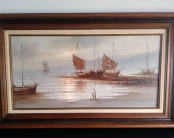 Mid Century Young Woo Signed Original Oil On Canvas Painting