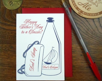 letterpress happy father's day to a real classic greeting card dad's soap & dad's cologne old spice
