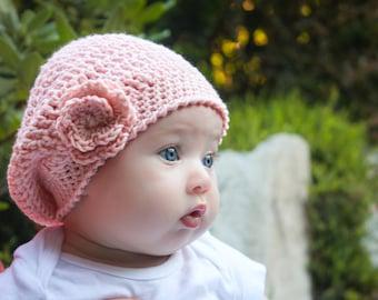 CROCHET Beret PATTERN: 'Jayda Rose Beret', Crochet Flower, Newborn thru Adult