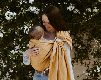 Baby Carrier, Infant Carrier, 100% Linen Ring Sling-------Santa Ana Gold