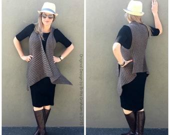 Easy Crochet Vest Pattern Waterfall Style No.933 Digital ePattern Instant Download English