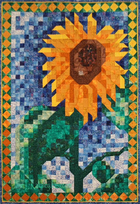 Art Quilt Pattern Sunflower Mosaic Quilt Pattern Pdf