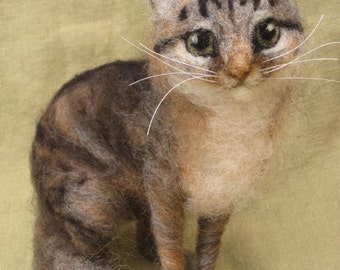 Needle felted cat, custom portrait of your pet, 11-12 month turnaround time