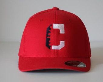 Flexfit 5001 V-Flex Twill Red Hat with Skyline C