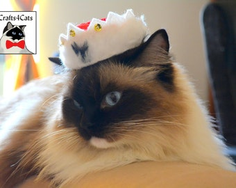 King Crown Hat for Cat - Royal Red Hat for Regal Cats - Made of Luxury Red Velvet Fabric - Royal Crown Hat