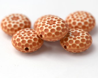 Vintage Rust Round Lucite Dimpled Coin Beads 18mm (6)