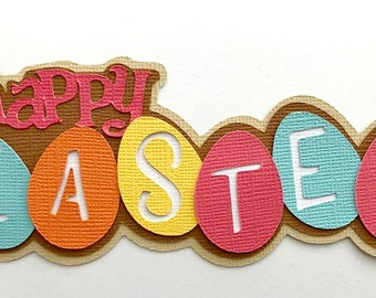 Happy Easter title egg premade paper piecing 3d die cut by my tear bears kira scrapbooking