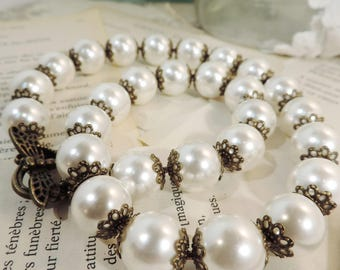 """Necklace white pearls, vintage style, vintage """"altered"""" beads"""