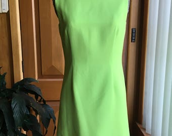 Mod 1960's lime green shift dress - size S