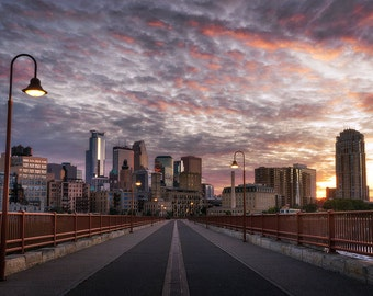 Mill City, Minneapolis Sunset, Minnesota, Stone Arch Bridge, Mississippi River, Skyline, Downtown - Travel Photography, Print, Wall Art