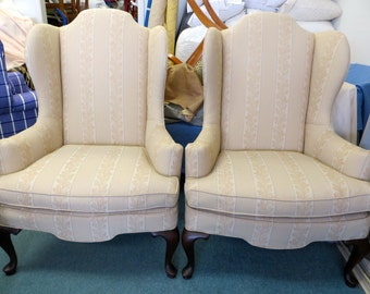 Pair of Leaf Patterned Wing Chairs with Button Details & Accent Pillows - Totally Refurbished - Shipping Varies