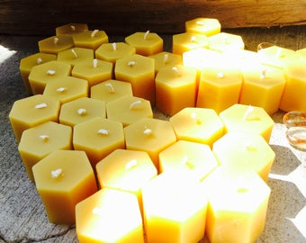 100% Pure Beeswax Tea Light Candles-hexagon beeswax tea lights-set of 10 beeswax tea light candles-pure organic beeswax