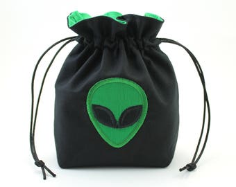 Green Alien Dice Bag, Drawstring Bag