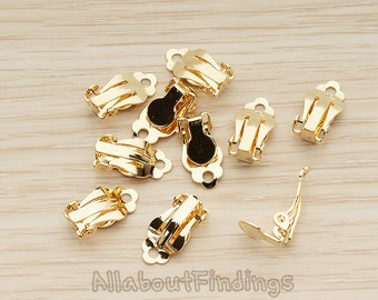 ERG311-G // Glossy Gold Plated 6mm Pad Clip On  Earring Finding For Non Pierced Ear, 4 Pc