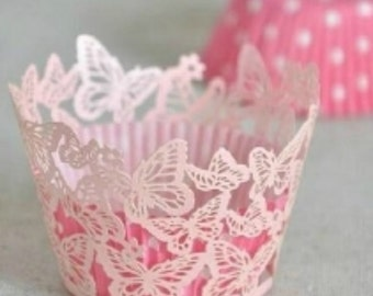 Pink Butterfly Cupcake Wrappers