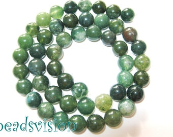 MOSS agate 8mm, 1 skein balls green agate