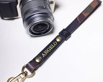 Camouflage Leather Camera Wrist Strap Italian Leather Personalized Custom Engraving Name Monogram Avaloncraft