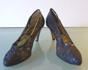Sesto Meucci Silk  Navy Blue Lace Shoes Made in Italy Size 7.5M