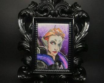 Original Watercolor card - Framed - Overwatch Moira
