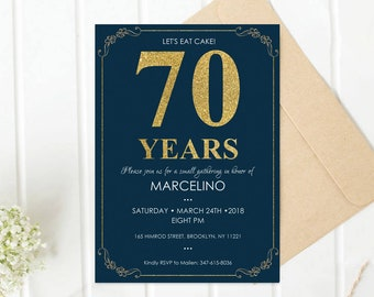 70th birthday invitation for Men, Any Age Navy Birthday, Party, Invites, Gold, Glitter, Blue Invitation, Birthday11